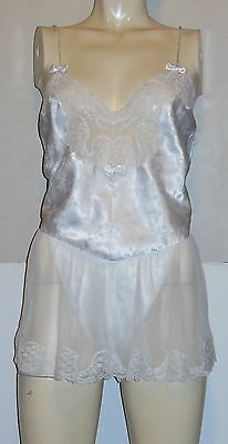 Vintage White Satin and Lace Teddy Bodysuit S Floral Beaded Skirted Sara Beth