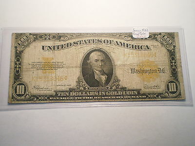1922 Large $10 Gold Certificate Note/ Fold,creases