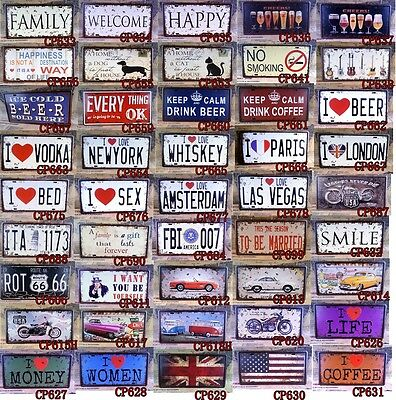 Embossed Metal Tin Signs Car License Plate Home Bar Cafe Decor Poster