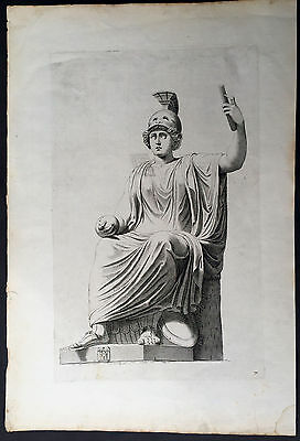 1750 Large Antique Print of a Roman God or Emperor heavy Laid 18th century Paper