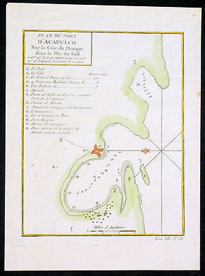1755 Bellin Antique Map of Town & Surrounds of Acapulco, Mexico