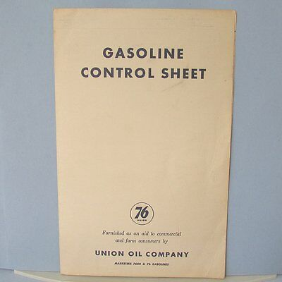 UNION 76 OIL Gasoline Gas Control Sheet Unused Vintage