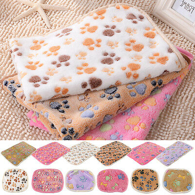 Soft Blanket Bed Cushion Cat Dog Pet Small Large Paw Print Coral cashmere