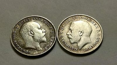 Great Britain Silver 1907 & 1916 Three Pence