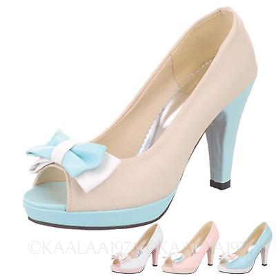 kala Barbie Party pumps Bow High Heels NEW Platform summer Peep Toe Sandals Size