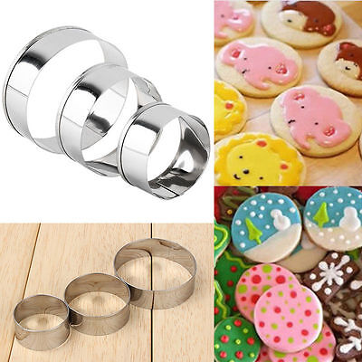 4pcs Stainless Steel Round Circle Cookie Biscuit Pastry Molds Practice