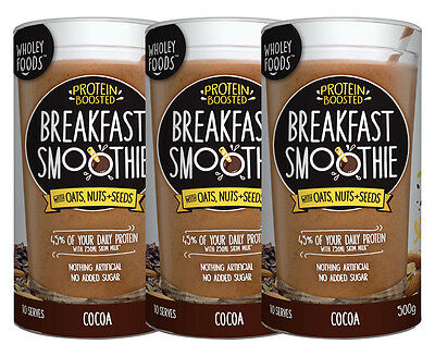 3 x Wholey Foods Protein Boosted Breakfast Smoothie 500g - Cocoa