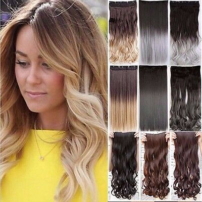 100% Natural SYNTHETIC As Human Hair Clip In Hair Extensions 3/4 Full Head Ombre