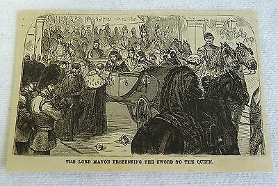 small 1882 magazine engraving ~ LORD MAYOR PRESENTING SWORD TO QUEEN England