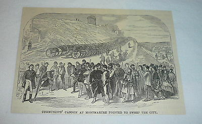 1877 magazine engraving ~ COMMUNISTS' CANNON AT MONTMARTRE