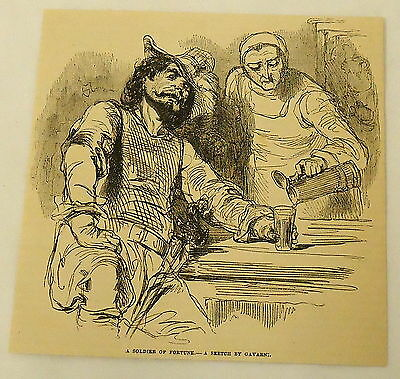 "1881 magazine engraving ~SKETCH BY PAUL GAVARNI of France ""A SOLDIER OF FORTUNE"""
