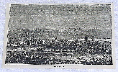 1878 small magazine engraving ~ FAMAGOSTA, Cyprus ~  scene from a distance