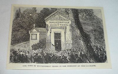 1877 magazine engraving ~ TOMB OF ADOLPHE THIERS
