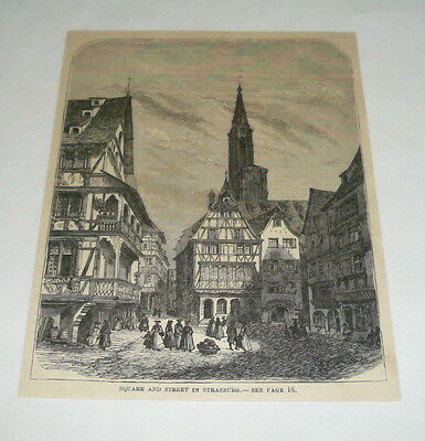 1879 magazine engraving ~ SQUARE AND STREET IN STRASBURG France