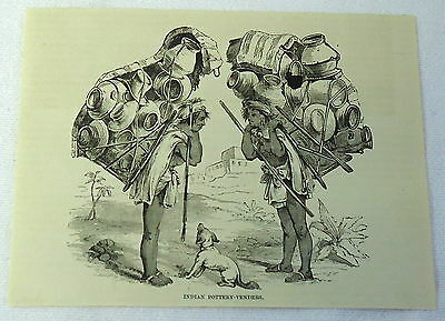 1883 magazine engraving~ INDIAN POTTERY-VENDERS Guatemala