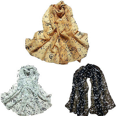 Fashion Women's Musical Note Soft Chiffon Neck Scarf Shawl Scarves Long Scarf