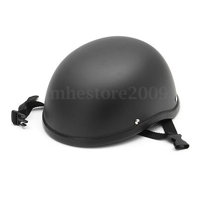 Matte Black Motorcycle Half Helmet Skull Cap Hat For Harley Chopper Bobber Biker