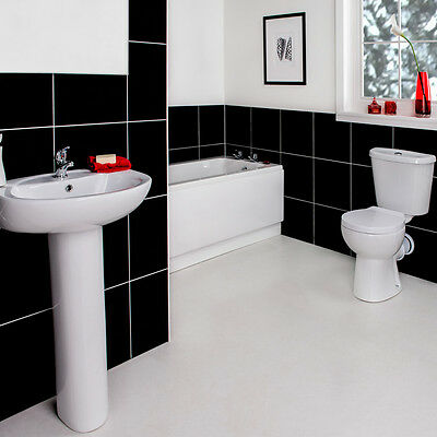 Modern Full Bathroom Suite with 1600mm Bath, Toilet and Wash Basin Sink