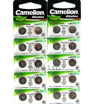 AG13  LR44 Camelion Alkaline batteries  G13 , GP76A  , LR44 , A76 battery  x 20