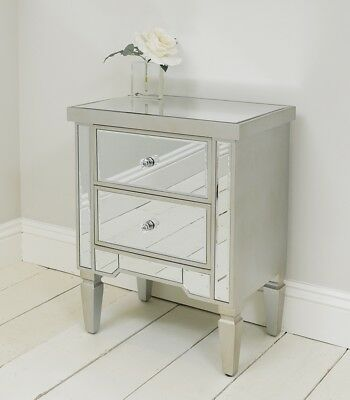 Two Drawer Venetian Style Bedside Table With Champagne Silver Edging Mirrored Be