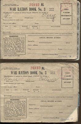 War ration book No. 3 lot of 2