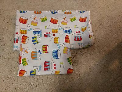 Crib Size Duvet Cover + Toddler Pillowcase Set of 2 - Primary Color Drums