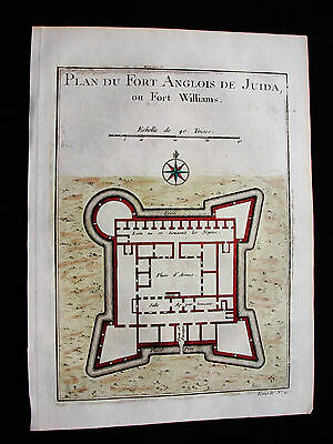 1754 BELLIN - original View map of AFRICA, FORT WILLIAM, GHANA, ANOMABU, AFRIQUE