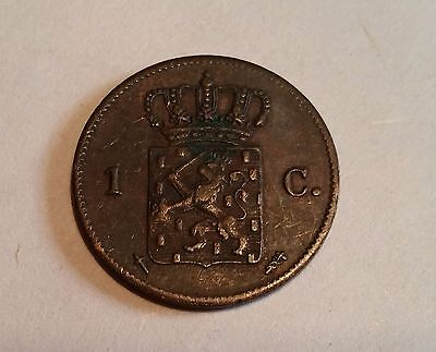1873 One Cent Copper Coin. NETHERLANDS. King Willem III
