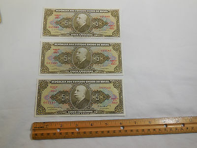 BRAZIL 5 Cruzeiros Brasil Banknote World Money Currency South America Lot Of 3