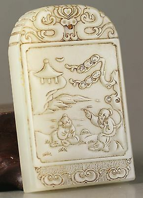 Chinese old natural hetian jade hand-carved zigang pendant 2.1 inch