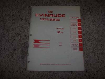 1970 Evinrude Starflite 85 HP Outboard Motor Shop Service Repair Manual