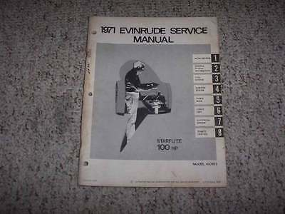 1971 Evinrude Starflite 100 HP Outboard Motor Shop Service Repair Manual