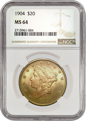 1904 $20 Liberty Head Double Eagle Gold NGC MS64