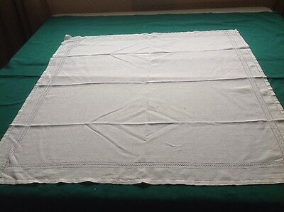 """Vintage Ivory Cotton Tablecloth or Topper 34"""" X 32"""" with Drawn-Work and Hemstitc"""