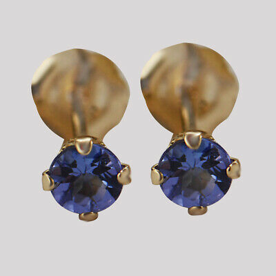1/5CT Round Cut Tanzanite Stud Earrings 925 Sterling Silver