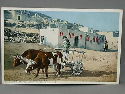 1925 Postcard Old Carreta Laguna Pueblo NM Trinidad Albuquerque RR RPO Cancel