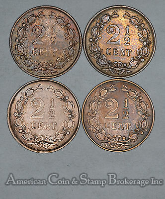 Netherlands 2 1/2 Cents 1884 1886 1893 1894 bronze 4 Coin lot Early Dates