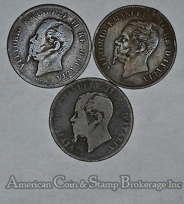 Italy 5 Centesimi 1861 1862 1867 bronze 3 Coin Lot Different Years