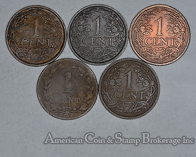 Netherlands 1 Cent 1892 1929 1941 x3 bronze 5 Coin Lot Nice Group