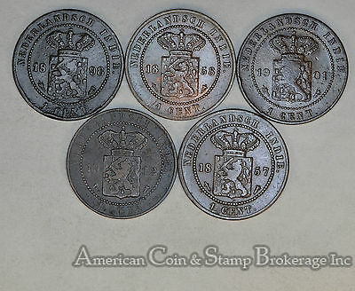 Netherlands East Indies 1 Cent 1857 1858 1898 1901 1912 5 Coin Lot Different