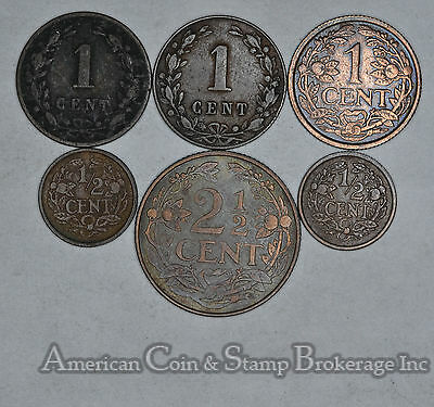 Netherlands 1/2 Cent 1878 1883 1912 1929 1934 1941 1 & 2 1/2 Cent 6 Coin Lot