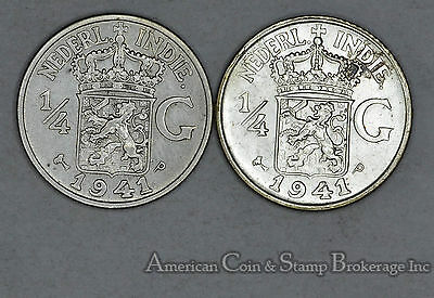 Netherlands East Indies 1/4 Gulden 1941 P silver KM#319 2 Coin Lot Nice