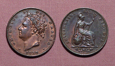 1830 KING GEORGE IV COPPER FARTHING WITH LUSTRE - Nice Grade