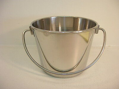 STAINLESS STEEL 1 Qt Pail - NEW! - Kennel-Feed-Seed-Milk-Ice - Easy Clean