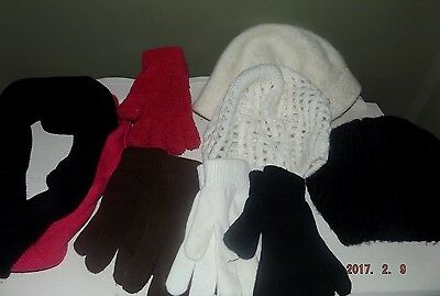 9 Piece-Women's/Juniors Winter Hats/Gloves/Infinity Scarf-Pink/Black/Ivory/Brown