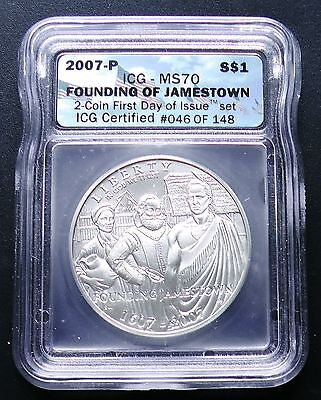 2007-P Jamestown Commemorative Silver Dollar ICG First Day Issue MS70 Certified