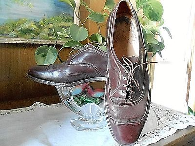 Vintage 1930's LEATHER MENS DRESS OXFORD SHOES sz 11 Goodyear Heels
