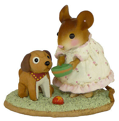 DOGGIE'S DISH by Wee Forest Folk, WFF# M-353, Retired Pajama Kids Series PINK