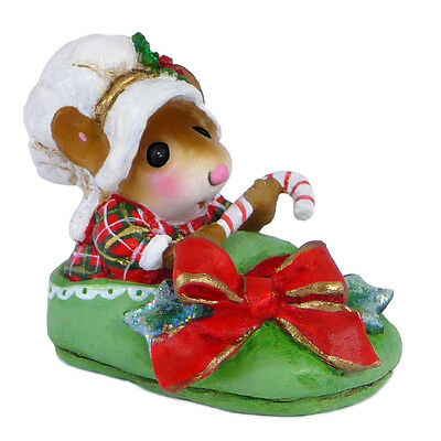 SNUGGLED IN FOR CHRISTMAS by Wee Forest Folk, WFF# M-498, GREEN Slipper