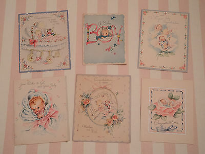 18 Vintage Baby Cards Mixed Media Art Supplies Shower Favors It's a Girl - Boy